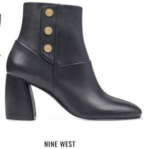 Nine West Kirtley block heel black booties